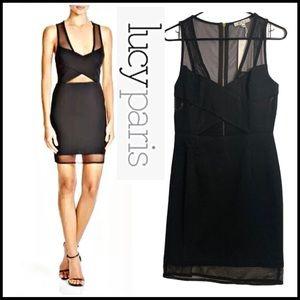 NWT LUCY PARIS BLACK MESH BODY CON DRESS SMALL